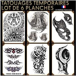 Tatouages temporaires NOIR (lot No.8) 6 planches 21 cm X 15 cm