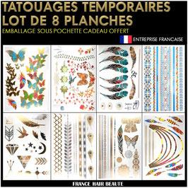 8 Planches tatouages temporaires métalliques (LOT1) 21cm X 15cm