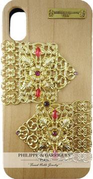Coque iPhone X de luxe en bois véritable, filigrane et ornés de cristaux SWAROVSKI rouge clair【THE GOLDEN COACH】