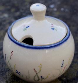 Zucker o. Honigtopf - blaue Gräser - ∅ ca. 6,5 cm H. 10 cm, mit Deckel