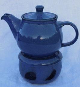 Teekanne mit Stövchen- blau WM- 1,3 Liter