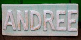 Namensschild WMSB-türkis-weiß- ca. 32 cm mal17 cm