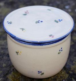 Wasser Butterdose - blaueBlumen-  ca.∅ 12,5 cm, H. 10 cm. Für 250 Gramm,.