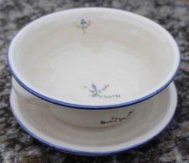Müsli / Suppe - blaue Sträußchen - ∅ 16 cm, H. 6,5 cm. 2 Henkel, mit Teller