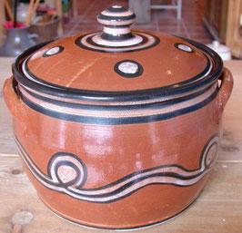 Brottopf -roter Ton sw- ∅ 25 cm, H. 19 cm. Innen mit oder ohne Glasur.
