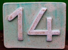 Hausnummer WMSB-türkis-weiß- ca. 20 cm mal 14 cm