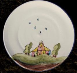 Kuchen Teller- weiß Häuser- ∅ 20 cm, H. flach.