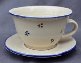 Caffee Unterteller - blaue Blumen-ca.  ∅ 13,5cm,  H. 7,5 cm, 350 ml.