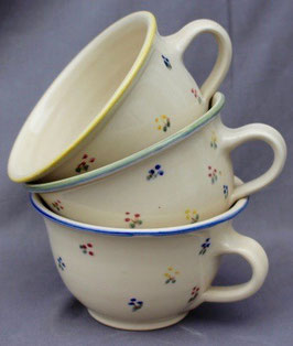 Caffee - gelb,grün,blaue, Blumen  -  ∅ 13,5cm,  H. 7,5 cm, 350 ml. Stück