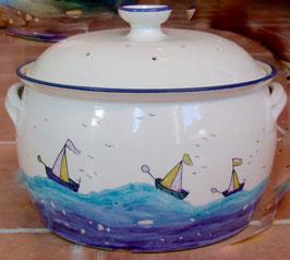 Brottopf - weiß Segelschiffe- ∅ 27 cm, H. 23 cm. Innen mit oder ohne Glasur.