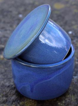 Wasser Butterdose klein - blau-ca.  ∅ 9,5 cm, H. 7 cm. Für 125 Gramm