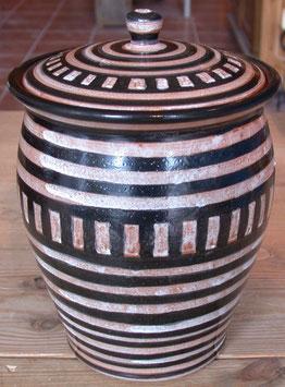 Topf r. Ton- 1131 schwarz weiß- ∅ 15 cm, H. mit Deckel 22 cm