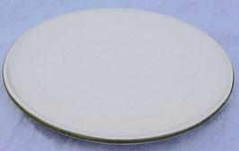 Teller / Pizza- weiß, grüner Rand- ∅ 29,5 cm, flach
