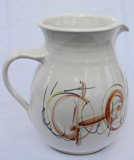 Krug -weiß,orange-rund. ∅ 12 cm , H. 19cm. 2 Liter