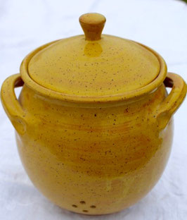 Zwiebeltopf - 1131 gelb Pi- ∅ 14,5 cm, H. mit Deckel 22 cm. Belüftung unten