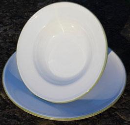 Pasta Teller- weiß, grüner Rand- ∅ 22 cm, H. 5 cm.