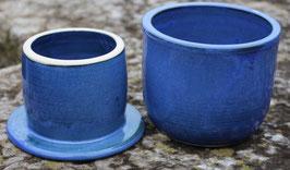 Wasser Butterdose - blau- ca. ∅ 12,5 cm, H. 10 cm. Für 250 Gramm.