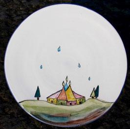 Ess Teller- weiß Häuser- ∅ 24,5 cm, H. flach.