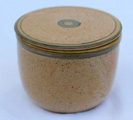Wasser Butterdose - 1131 WMSB-  grün gelber Rand.-ca. ∅ 12,5 cm, H. 10 cm. Für 250 Gramm