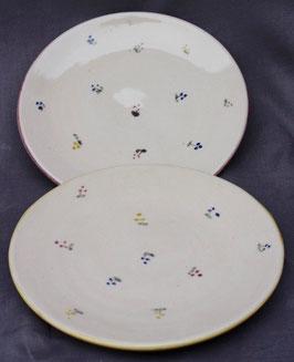 Frühstücks Teller- rote, blaue Blumen- ∅ 20cm, H. flach