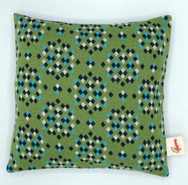 Jaquard-Strick-Kissen grün (Rauten) inkl. Inlet mit verschiedenen Füllmaterialien