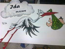 Frecher Storch, Wetterfest bemalt, länge ca. 1 Meter
