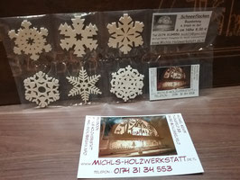 Schneeflocken für den Weihnachtsbaum, 6 verschiedene Motive