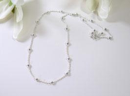 Halskette aus Anker-Gliederkette mit Kugeln 925er Silber