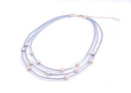 Echtleder Collier silbergrau mit goldfarbenen Perlen