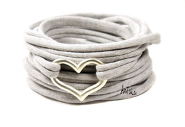 Endlosarmband aus Jersey mit versilbertem Herz