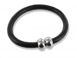 Echt Leder Armband schwarz mit Magnetkugel-Verschluss Edelstahl