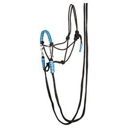 Knotenhalfter mit Zügel Blau-schwarze