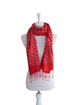 Seidenschal Rot | Weiß