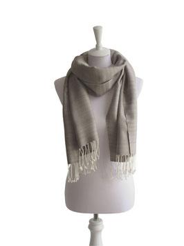 Baumwollschal | Baumwolltuch Grau Weiß