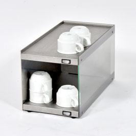Tassenwärmer-Aufsatzmodul Glas rechts/Edelstahl links