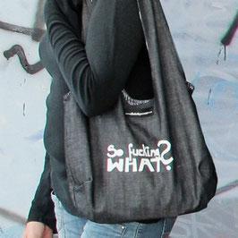 DIE KLEINE // Jeans schwarz - schwarzweiß gestreift