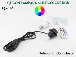 KIT PORTALAMPADA PER BOTTIGLIA E27 NERO CON  LAMPADINA MULTICOLORE RGB E TELECOMANDO