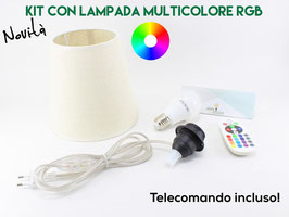 Kit Paralume D.18 cm Juta con Lampadina Multicolore e Telecomando