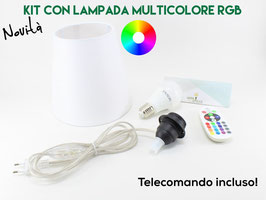 Kit Paralume D.18 cm Bianco con Lampadina Multicolore e Telecomando
