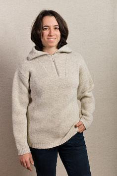 Pullover mit Reißverschluß Mohair hellgrau
