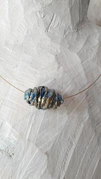 Stahlseilkette vergoldet 1reihig mit einer Perle