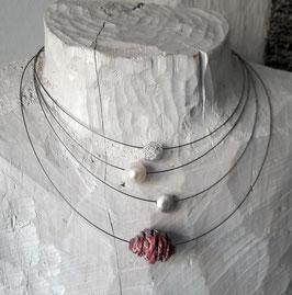 Stahlseilkette 1reihig mit einer Perle