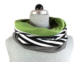 Schamütze - dünne Variante - schwarzweiße Streifen - Grau- bunter Stoff