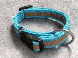 Hundehalsband Türkis mit braunem Streifen aus veganem Leder (Snappap)