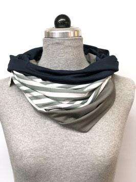 Schamütze - dünne Variante - grauweiße Streifen/ grauer und bunter Jerseystoff