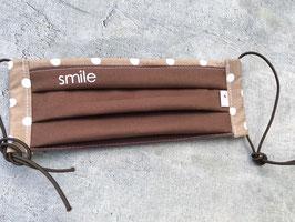 Schnuti 140LS  Braun / Beiger Stoff mit Tupfen weißes Smile - Sommer