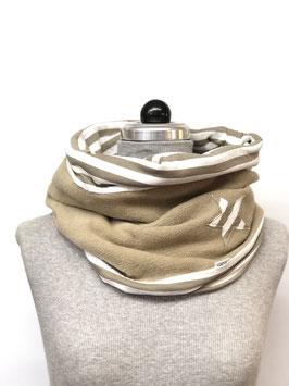 Schamütze - Fleece beige mit Jerseystoff