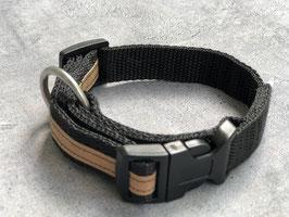 Hundehalsband Schwarz mit braunem Streifen aus veganem Leder (Snappap)