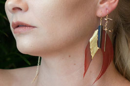 lk3115or boucle d'oreille gold filled et plume rouge plaquée or