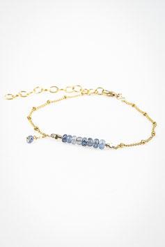 42 Bracelet ligne saphir goldfilled chaine perlée réglable de 15cm a 19cm
